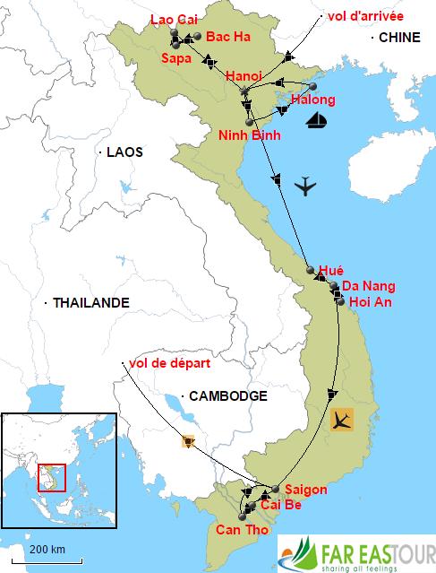 Carte-Circuit visiter le Vietnam en 15 jours