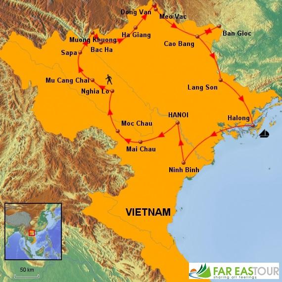Carte du Circuit Nord Vietnam 17 jours