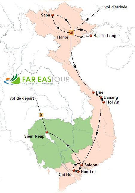 Circuit Vietnam Cambodge 15 jours - carte
