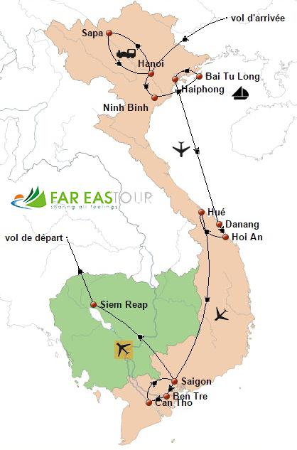 Circuit Vietnam Cambodge 18 jours - carte