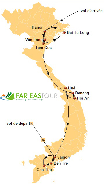 Circuit Vietnam authentique 2 semaines - carte