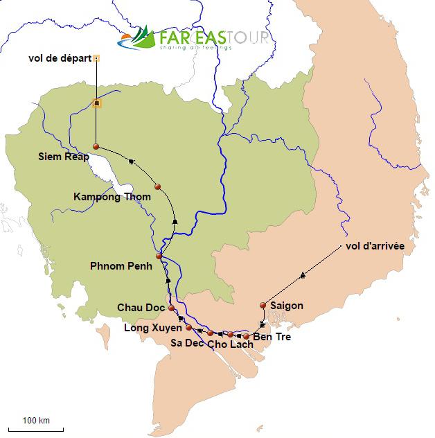Du Vietnam au Cambodge par le Mékong 12 jours - carte