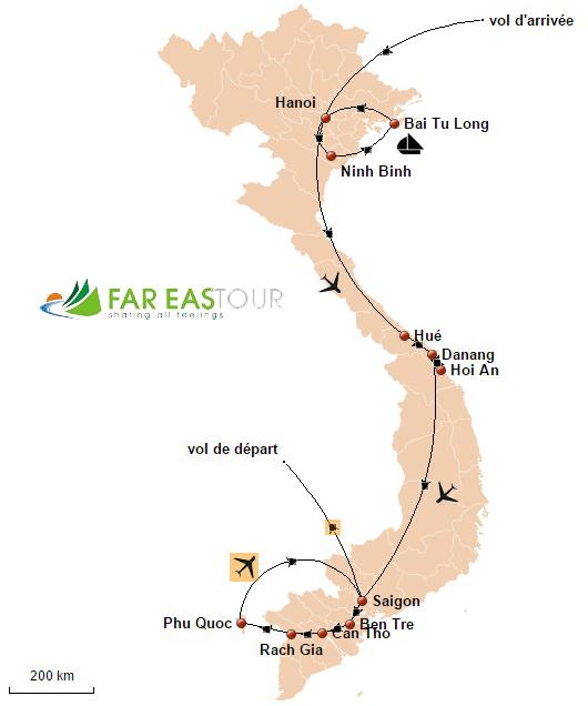 Carte du Voyage Vietnam en famille 16 jours
