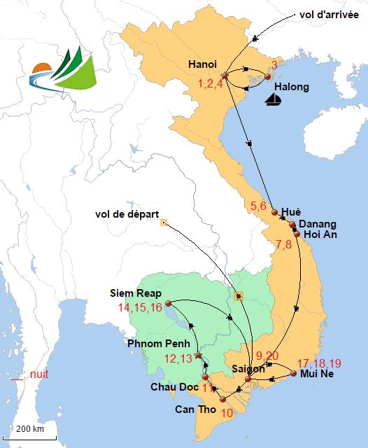 carte circuit combiné Vietnam Cambodge 3 semaines