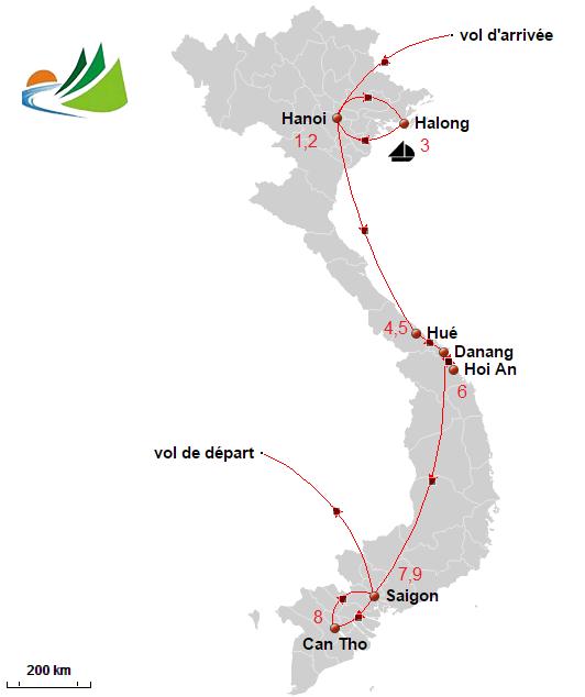 carte du circuit Vietnam 10 jours