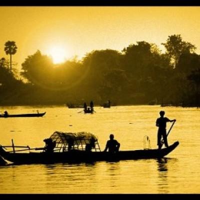 Croisière en barque sur le Mékong au lever de soleil