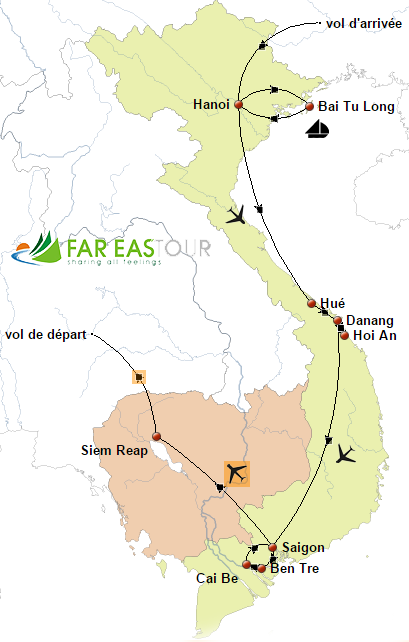Circuit combiné Vietnam Cambodge – 12 jours-carte