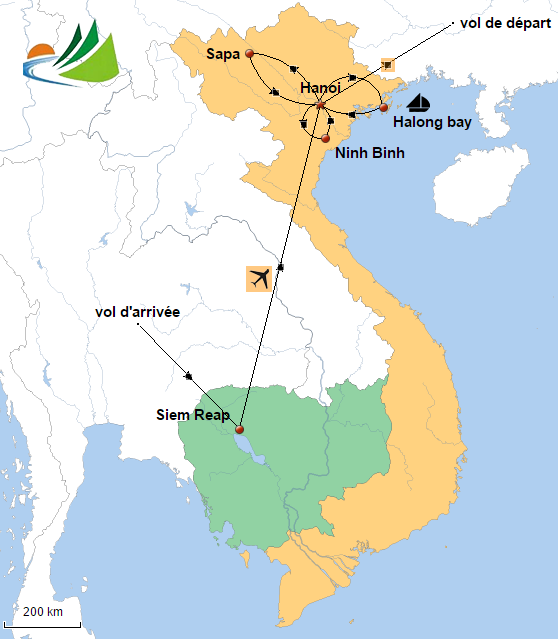 Carte du circuit Vietnam Cambodge 10 jours