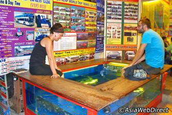 Massage aux pieds par des poissons