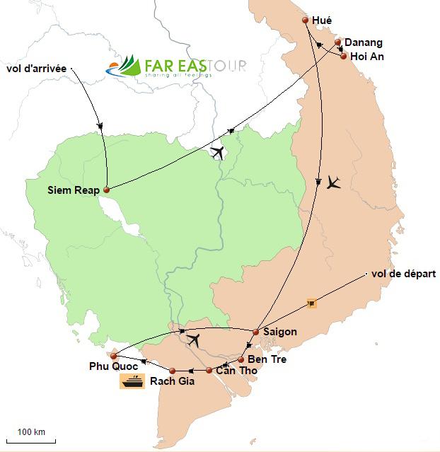 Carte du voyage Centre, Sud Vietnam et temples d'Angkor 14 jours