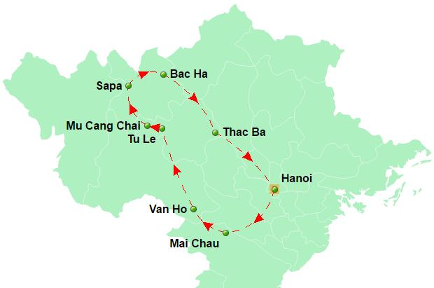 carte du circuit A la rencontre des ethnies montagnardes Vietnam