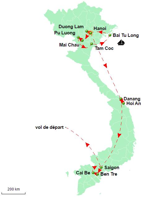 carte vacances Vietnam 13 jours