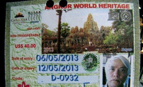 Un exemplaire de ticket touristique à Angkor Vat